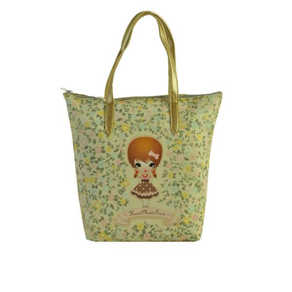 """Τσάντα Ώμου Δερματίνη Κίτρινο """"Κοριτσάκι - Λουλούδια"""", Με Χρυσό Μεταλλιζέ Λουρί"""