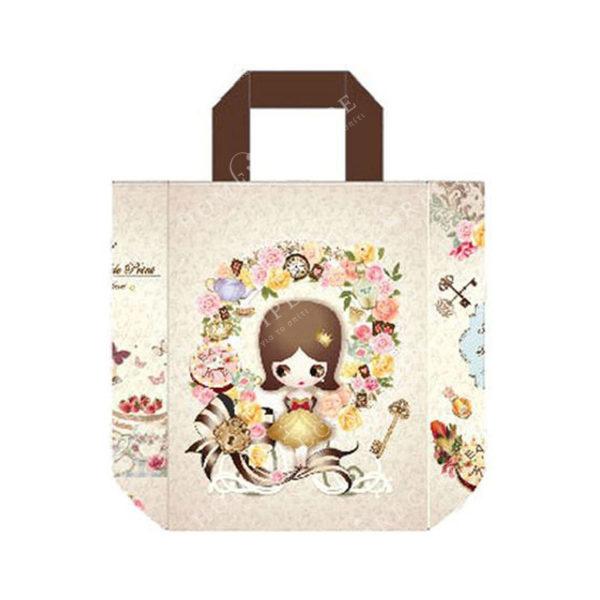 """Τσάντα Ώμου Δερματίνη """"Κοριτσάκι Με Ροζ Λουλούδια"""" Με Υφασμάτινο Λουράκι XL"""