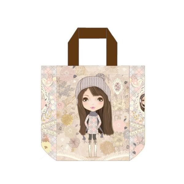 """Τσάντα Ώμου Δερματίνη """"Κοριτσάκι Με Σκούφο"""", Με Υφασμάτινο Λουράκι XL"""