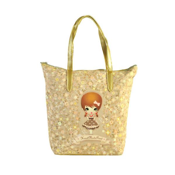 """Τσάντα Ώμου Δερματίνη Ροζ """"Κοριτσάκι - Λουλούδια"""", Με Χρυσό Μεταλλιζέ Λουρί"""