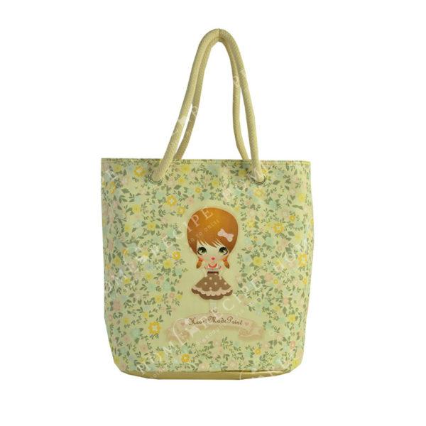 """Τσάντα Ώμου - Θαλάσσης Δερματίνη Κίτρινο/ Χρυσό """"Κοριτσάκι - Λουλούδια"""", Με Λευκό Λουρί Από Καραβόσκοινο"""