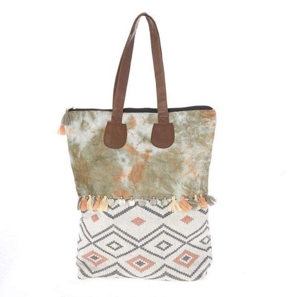 Τσάντα Ώμου Υφασμάτινη Καφέ/ Λαδί Με Boho Μοτίβο