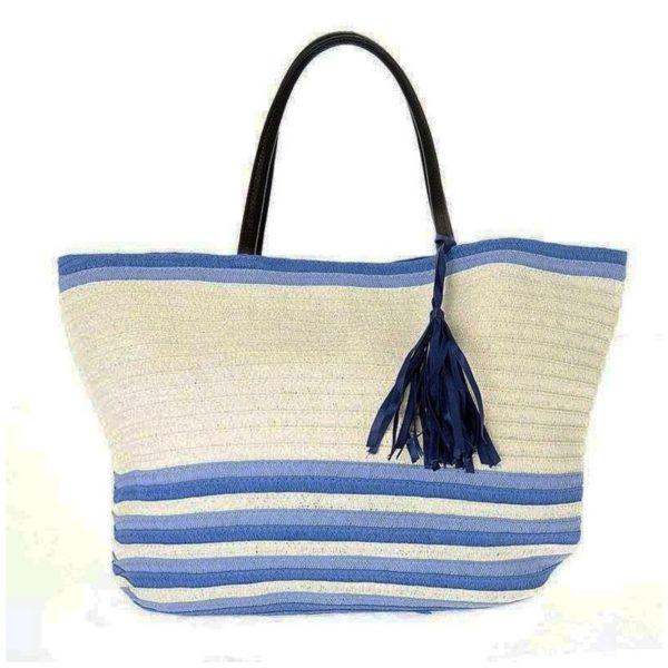 Τσάντα Θαλάσσης Ψάθινη Λευκή/ Γαλάζια Με Μπλε Φούντα