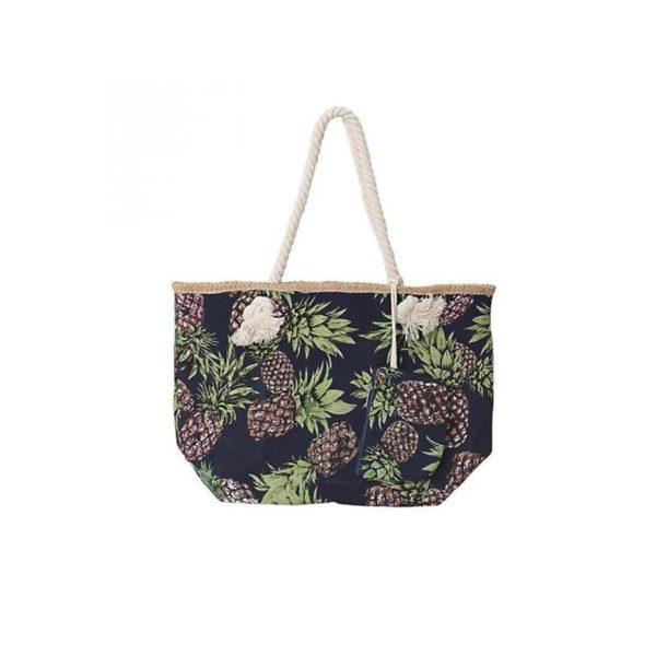 Τσάντα Θαλάσσης Υφασμάτινη Tropical Με Ανανάδες Μαύρη