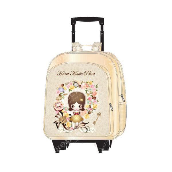 """Τσάντα Trolley Δερματίνη """"Κοριτσάκι Με Ροζ Λουλούδια"""", Με Μαύρη Λαβή S"""