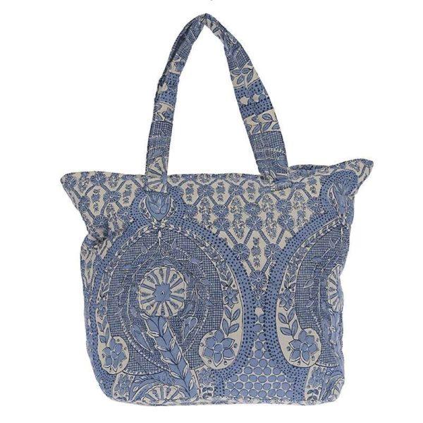 Τσάντα Βαμβακερή Με Γαλάζιο Διακοσμητικό Μοτίβο Σε Λευκό Φόντο