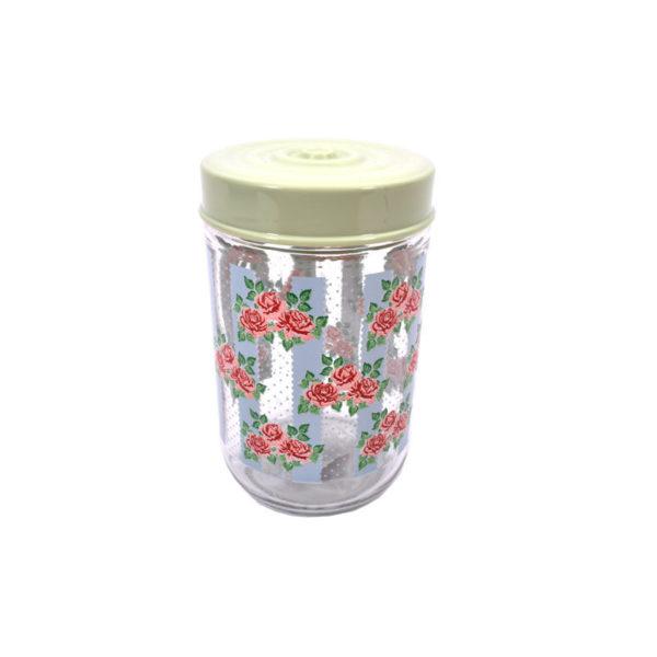 Βαζάκι Γυάλινο Με Λουλουδάκια Με Φυστικί Καπάκι 660cc Υ14