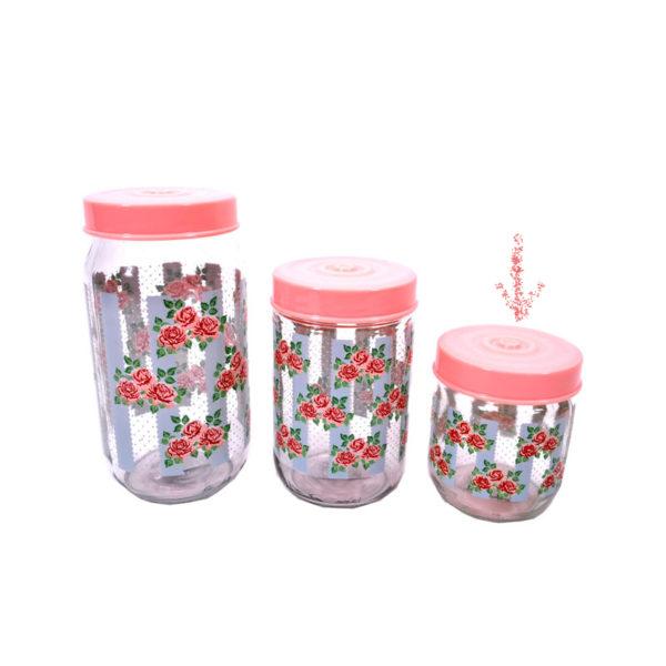 Βαζάκι Γυάλινο Με Λουλουδάκια Με Ροζ Καπάκι 425cc Υ10