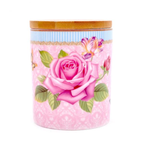 Βάζο Αποθήκευσης Πορσελάνινο Για Ζάχαρη/ Καφέ Με Ξύλινο Καπάκι Ροζ Τριαντάφυλλο Υ9