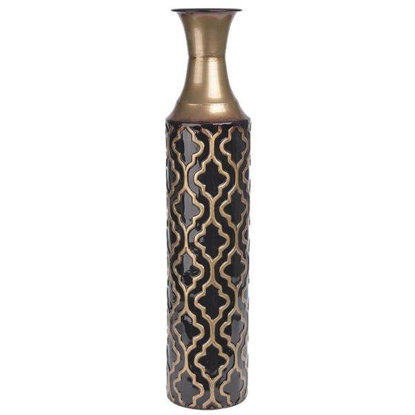 Βάζο Δαπέδου Μεταλλικό Μαύρο - Χρυσό Φ12 Υ58