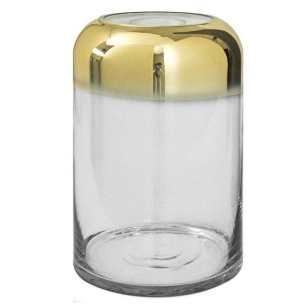 Βάζο Γυάλινο Ντεγκραντέ Χρυσό/ Διάφανο Υ27
