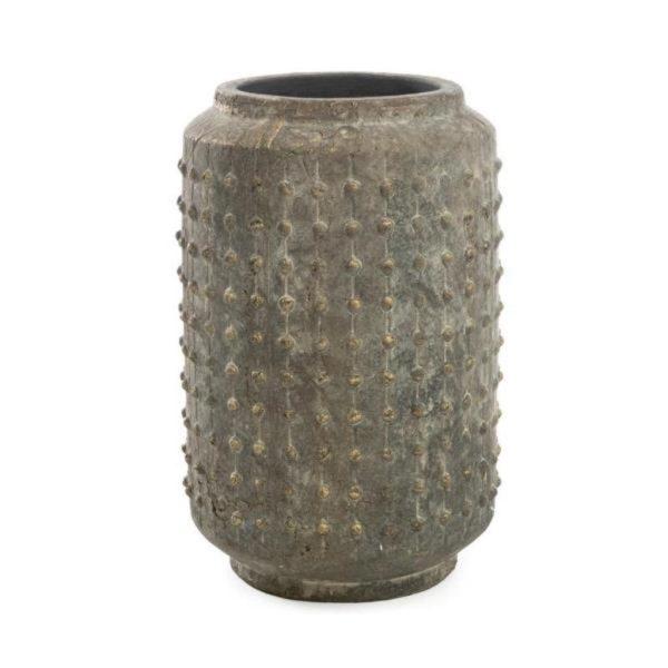 Βάζο Κεραμικό Με Ανάγλυφους Κόμπους Γκρι/ Χρυσό 23x23x35