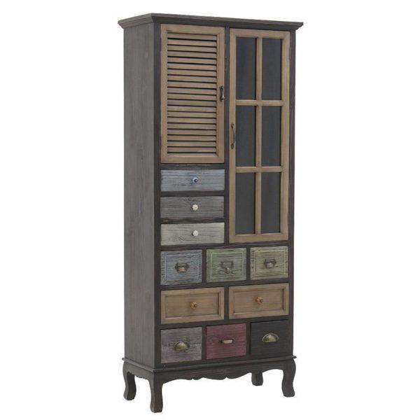 Βιτρίνα/ Ντουλάπι Ξύλινη Με Συρτάρια Vintage Πολύχρωμη Μ73 Υ164