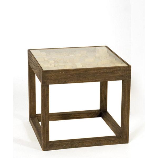 Βοηθητικό Τραπέζι Ξύλινο Τετράγωνο Καφέ Με Γυάλινη Επιφάνεια 50x50