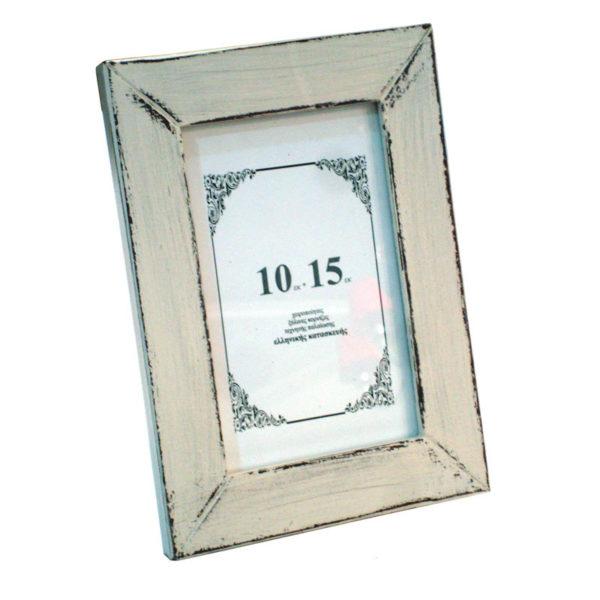 Ξύλινη Επιτραπέζια Κορνίζα Φαρδιά 'Plain' Για Φωτογραφία 10x15 Cottage White