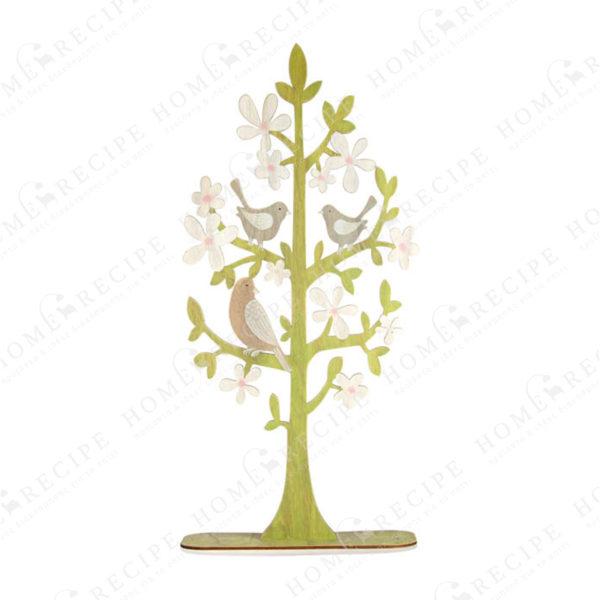 Ξύλινο Διακοσμητικό Δέντρο Πράσινο Με Λευκά Λουλούδια Και Πουλάκια Υ90