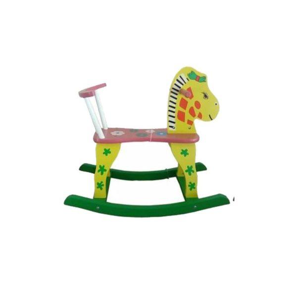 Ξύλινο Παιδικό Καρεκλάκι/ Αλογάκι Κίτρινο/ Πράσινο
