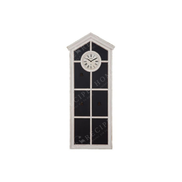 Ξύλινος Μαυροπίνακας/ Ρολόι Λευκός Με Καϊτια 49x117.5