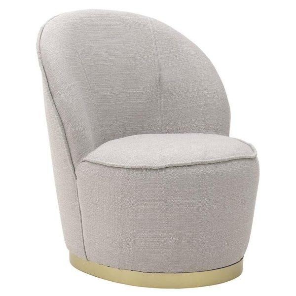 Υφασμάτινη Πολυθρόνα Μπεζ Με Στρογγυλό Κάθισμα Και Χρυσή Βάση