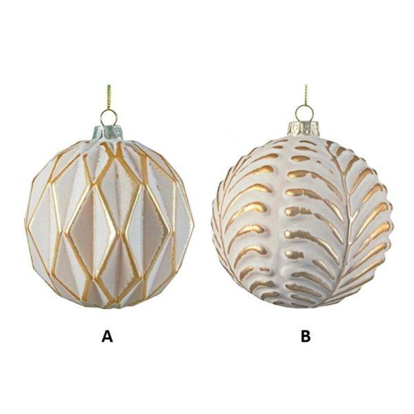 Ζάρος Χριστουγεννιάτικη Μπάλα Γυάλινη Ματ Λευκό/ Χρυσό 10cm, Σε 2 Σχέδια