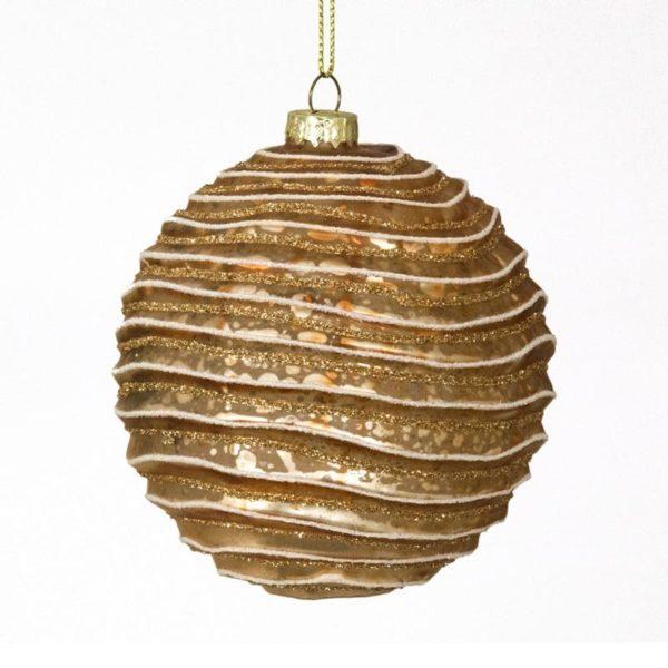 Ζάρος Χριστουγεννιάτικη Μπάλα Γυάλινη 'Wave' Αντικέ Χάλκινο 10cm