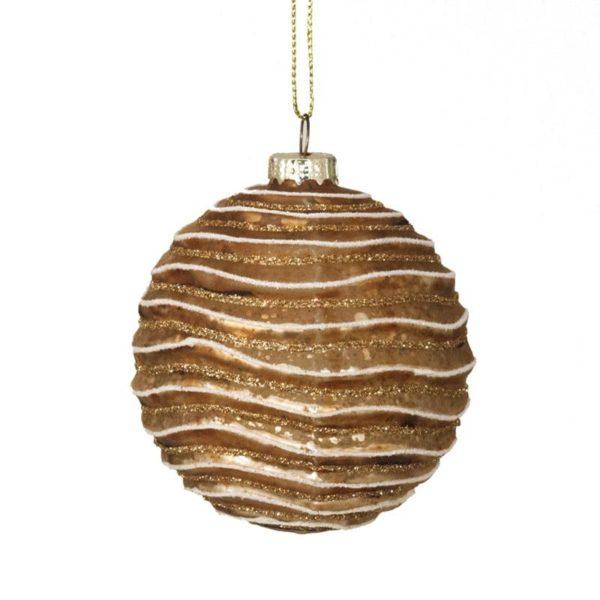 Ζάρος Χριστουγεννιάτικη Μπάλα Γυάλινη 'Wave' Αντικέ Χάλκινο 8cm