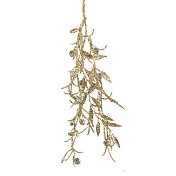 Ζάρος Χριστουγεννιάτικη Γιρλάντα Μini Με Χρυσά Φύλλα Και Ασημί Πέτρες Y30