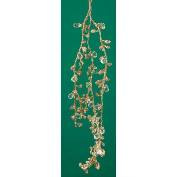 Ζάρος Χριστουγεννιάτικη Γιρλάντα Μini Με Χρυσά Φύλλα Και Διαμαντάκια Y30