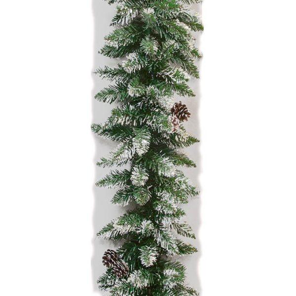 Ζάρος Χριστουγεννιάτικη Γιρλάντα Πράσινη, Πευκοβελόνα Χιονισμένη M270