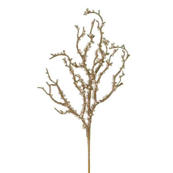Ζάρος Χριστουγεννιάτικο Πικ Κοράλι Χρυσό Με Πέρλα Υ35