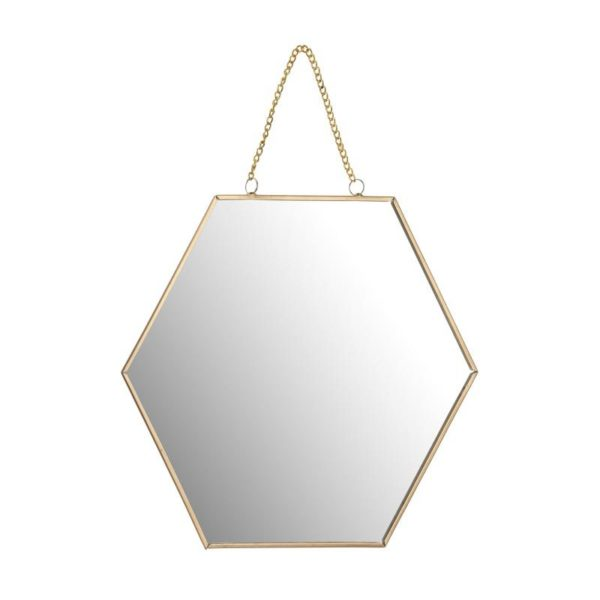 Ζάρος Καθρέπτης Πολυγωνικός Χρυσός Με Αλυσίδα 'Hexagon' 25x22