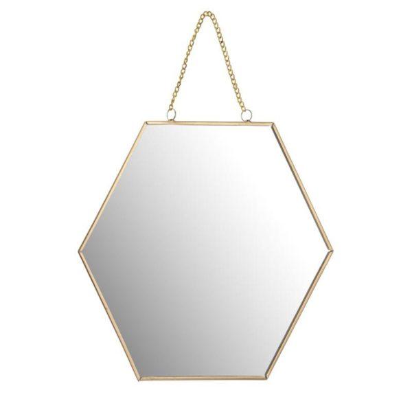 Ζάρος Καθρέπτης Πολυγωνικός Χρυσός Με Αλυσίδα 'Hexagon' 30x26