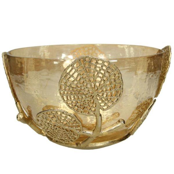 Ζάρος Κουπ Γυάλινο Χρυσό Με Μεταλλικά Τυπώματα Λουλουδιών Δ27