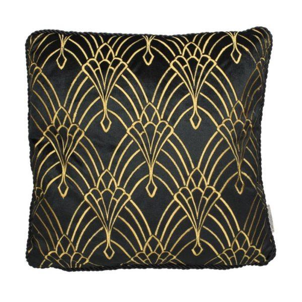 Ζάρος Μαξιλάρι Τετράγωνο Art Deco Μαύρο/ Χρυσό 'Crown' 45x45