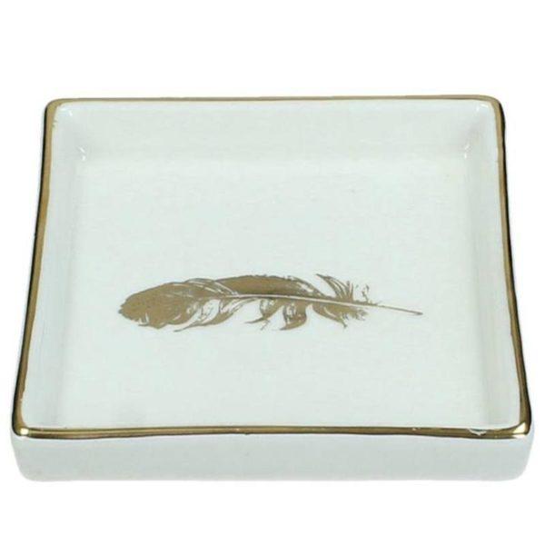 Ζάρος Σουβέρ Κεραμικό Με Τύπωμα Φτερό Λευκό/ Χρυσό Y11.5