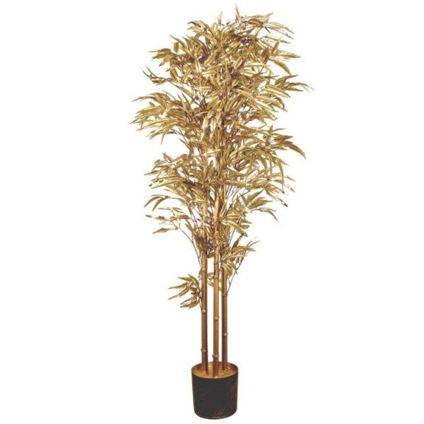 Ζάρος Τεχνητό Φυτό Μπαμπού Χρυσό, Με Μεταλλική Βαφή Y150