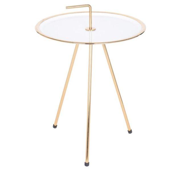 Ζάρος Τραπέζι Στρογγυλό Mε Μεταλλικό Σκελετό Εκρού/ Χρυσό 42x57