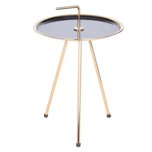 Ζάρος Τραπέζι Στρογγυλό Mε Μεταλλικό Σκελετό Μαύρο/ Χρυσό 42x50
