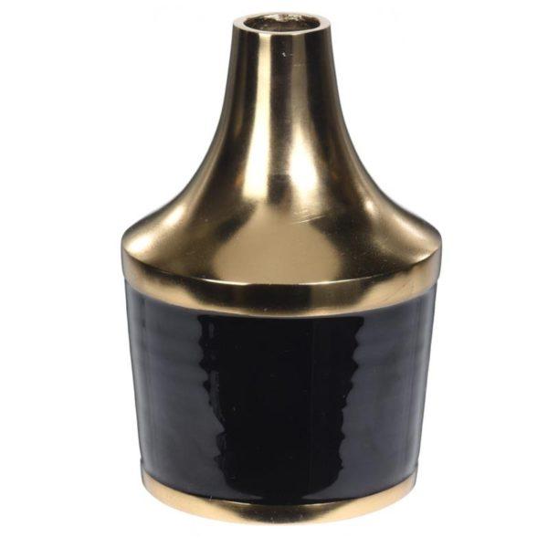 Ζάρος Βάζο Αλουμινίου Μαύρο Με Χρυσό Λαιμό Υ20