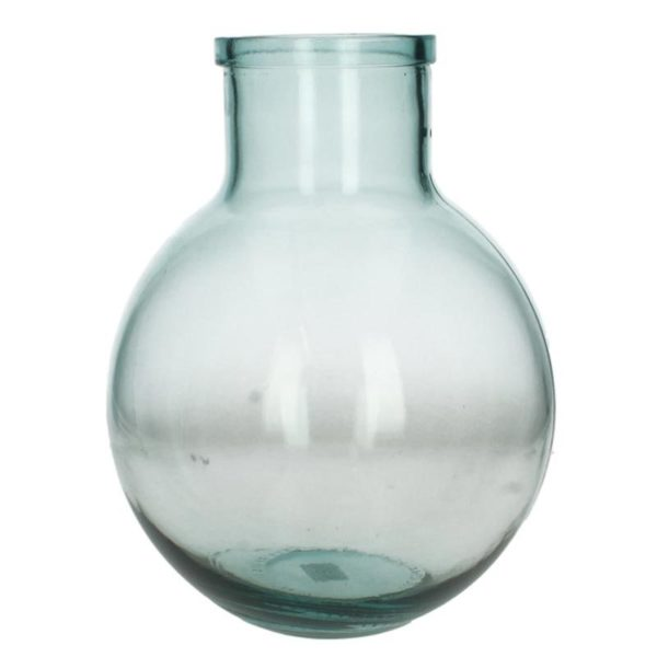 Ζάρος Βάζο Γυάλινο Στρόγγυλο Διάφανο Μπλε Υ29
