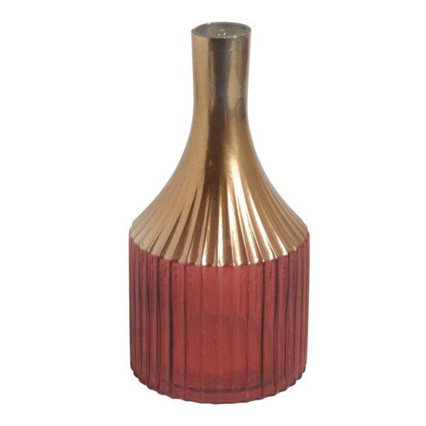 Ζάρος Βάζο Γυάλινο Βurdundy Με Χρυσό Λαιμό Υ26.5, Σε 2 Χρώματα
