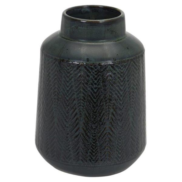 Ζάρος Βάζο Κεραμικό Κυλινδρικό Λαδί/ Μαύρο Με Ανάγλυφα Σχέδια Υ22