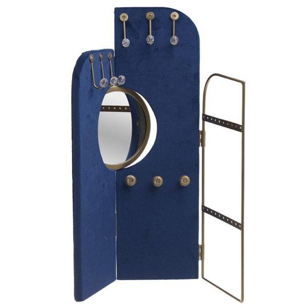 Μπιζουτιέρα Μεταλλική Με Καθρέπτη Χρυσή/ Μπλε Βελούδο 38x1x40, Inart