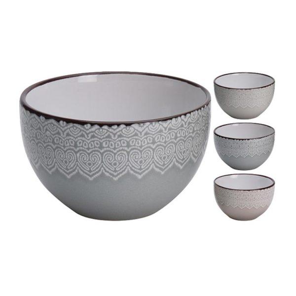 Μπολ Stoneware Με Σχέδιο Δαντέλα, Σε 3 Διαφορετικά Χρώματα Δ13.5 | ZAROS