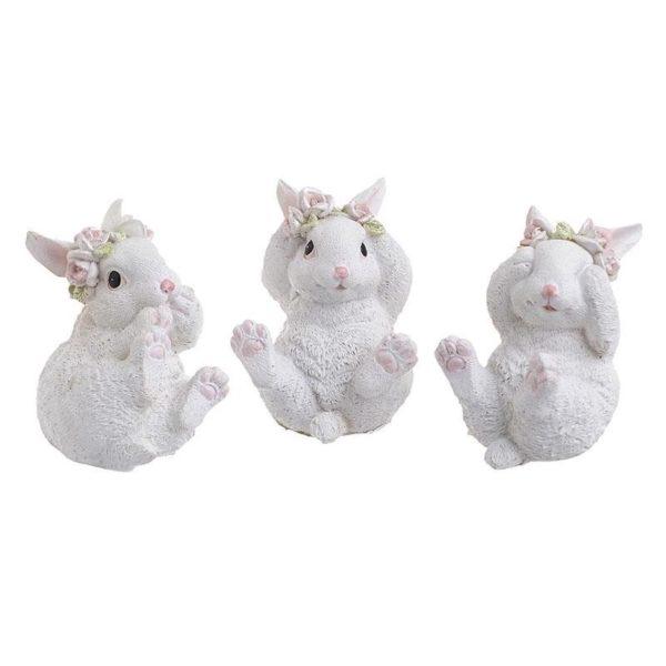 Διακοσμητικά Λαγουδάκια Λευκά 'Baby Bunnies' 7x7x9, Σετ Των 3, Inart