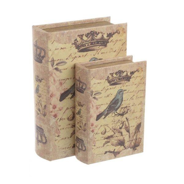 Διακοσμητικά Ξύλινα Κουτιά/ Βιβλία 'Birds' 19x7x27, Σετ Των 2, Inart