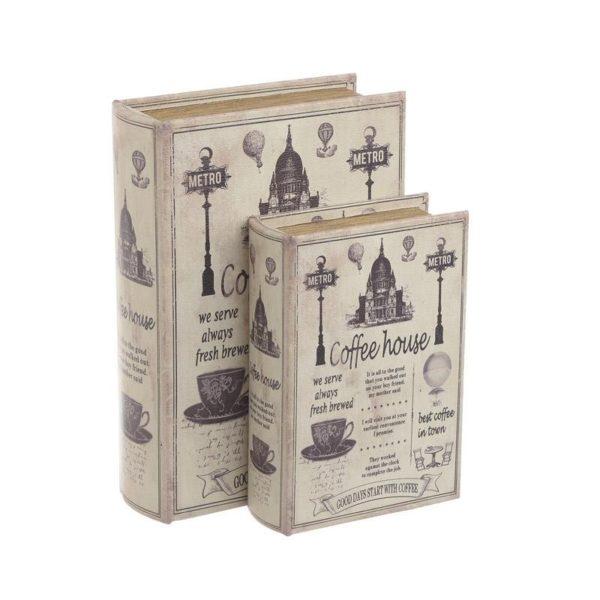 Διακοσμητικά Ξύλινα Κουτιά/ Βιβλία Καφέ/ Λευκό 'Coffee House' 19x7x27, Σετ Των 2, Inar