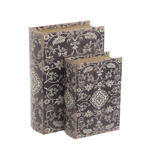 Διακοσμητικά Ξύλινα Κουτιά/ Βιβλία Καφέ Με Λευκά Μοτίβα 19x7x27, Σετ Των 2, Inart