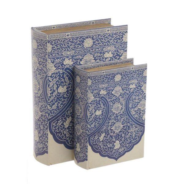Διακοσμητικά Ξύλινα Κουτιά/ Βιβλία Λευκό/ Μπλε 19x7x27, Σετ Των 2, Inart