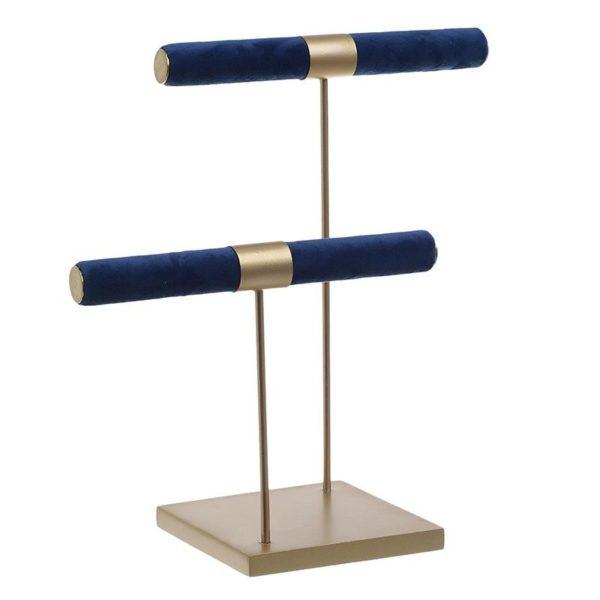 Διακοσμητική Βάση Κοσμημάτων Διπλή Μεταλλική Χρυσή/ Μπλε Βελούδο Υ26, Inart